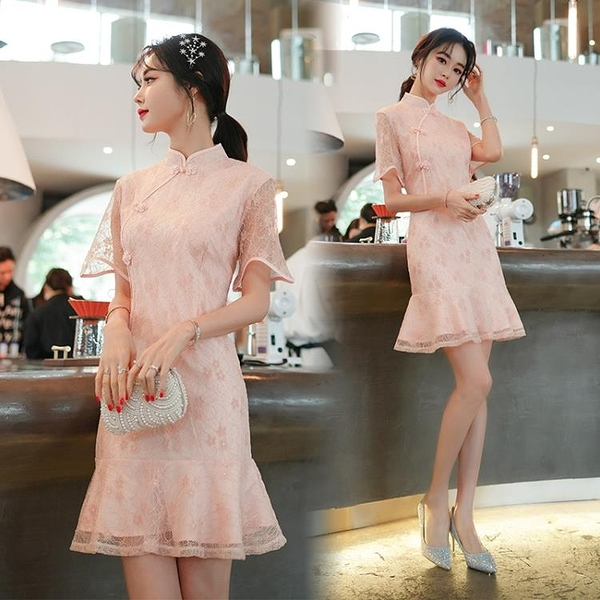 蕾絲洋裝 2021春夏旗袍大碼收腰蕾絲改良版魚尾連身裙復古民國風年輕款少女旗袍禮服