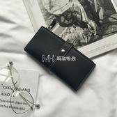 搭扣拉鍊長款錢包女韓版學生零錢包潮簡約復古薄款錢夾女 瑪奇哈朵