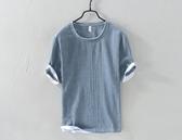 夏季日系亞麻短袖t恤男士青年寬鬆純色圓領棉麻休閒半袖體恤衫潮  英賽爾3C
