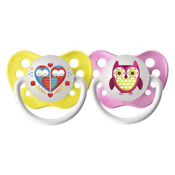 美國 Ulubulu 造型安撫奶嘴2入組 - 粉嫩貓頭鷹