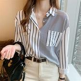 豎條紋襯衣港風法式襯衫女夏季寬鬆春新款棉麻上衣中長款外套 衣櫥秘密