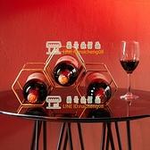 北歐創意紅酒架格子架鐵藝葡萄酒架吧臺酒架家用金屬裝飾擺件【樹可雜貨鋪】