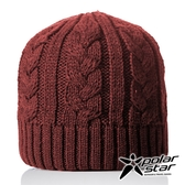 【PolarStar】中性 素色編織保暖帽『暗紅』P18603 羊毛帽 毛球帽 素色帽 針織帽 毛帽 毛線帽 帽子