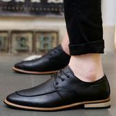 男鞋子潮流小皮鞋英倫風男士休閒鞋潮鞋尖頭發型師皮鞋【無趣工社】