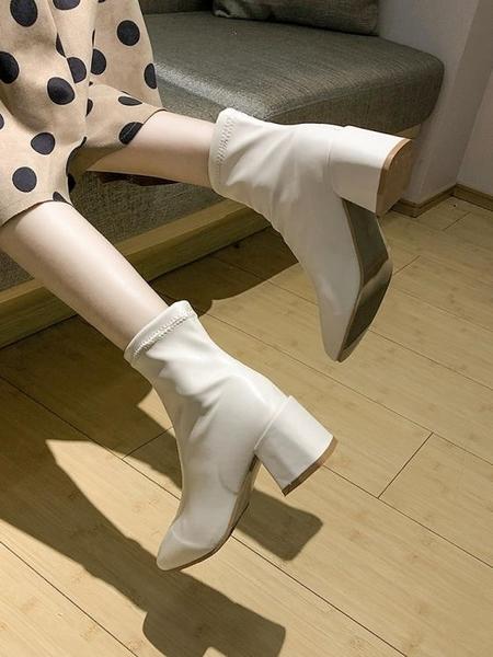 短靴 網紅短靴女秋季新款ins百搭粗跟切爾西馬丁靴英倫風瘦瘦鞋潮 (快速出貨)