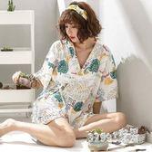 日式睡衣 女夏短袖兩件套大碼家居服可外穿和服薄款2019新 BT8422【Sweet家居】