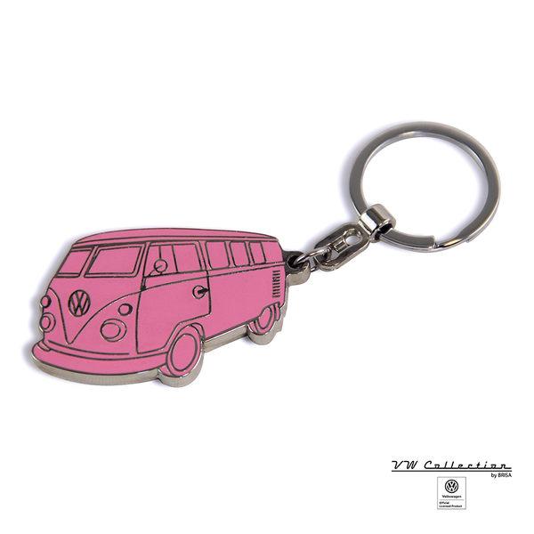 VW Brisa老福斯-T1 Bus 琺瑯鑰匙圈-粉紅