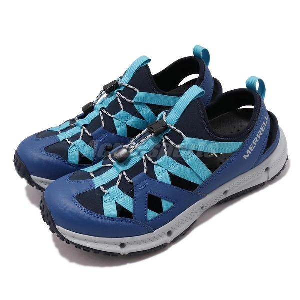 Merrell 戶外鞋 Hydrotrekker Synthetic Shandal 藍 灰 護趾涼鞋 男鞋 【ACS】 ML033597