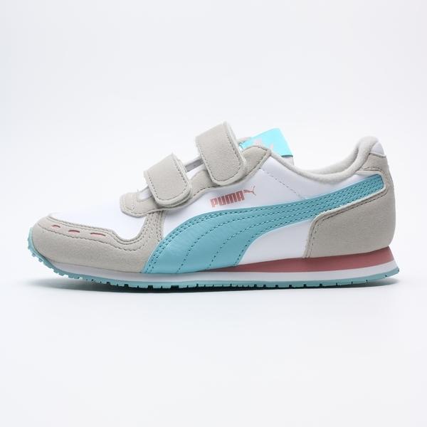 PUMA CABANA RACER SL V PS 白灰 水藍粉紅 皮革 魔鬼氈 運動鞋 中童 (布魯克林) 36073278
