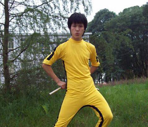 李小龍連體服黃色運動服表演服裝【藍星居家】