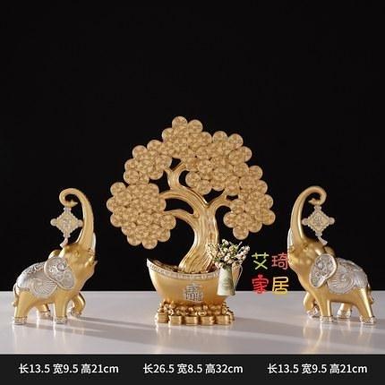 招財樹擺件 招財樹發財樹擺件中式酒櫃客廳開業家居裝飾品玄關桌面工藝品大象T