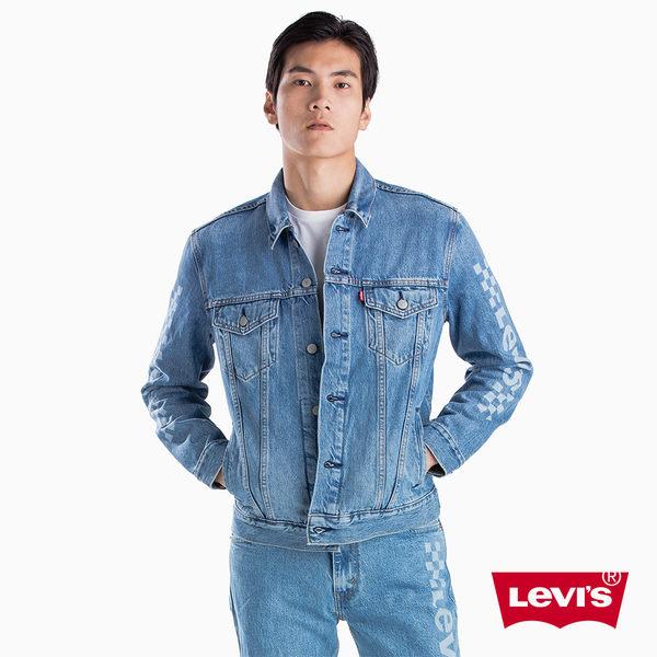 [買1送1]Levis 男款 牛仔外套 / Type 3 經典修身版型 / 棋盤紋Logo印花