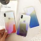 【R】藍光漸變 炫彩變色 壓克力背板 手機殼 蘋果 iPhone 8 plus Xs Max 全包邊軟殼