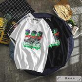 大碼T恤  夏季歐美卡通童趣印花潮流學生街舞短袖T恤男港風寬松情侶t恤【S-5XL】