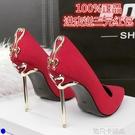 歐美2020春秋季新款女鞋10cm高跟鞋細跟百搭顯瘦性感單鞋紅色婚鞋 依凡卡時尚