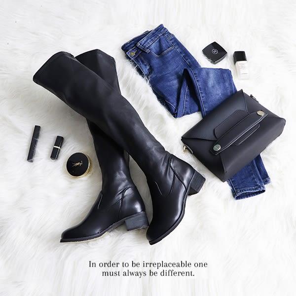 PUFII-膝上靴 顯瘦尖頭皮製內磨毛粗跟長靴膝上靴高筒靴色-1018 現+預 秋【CP15342】