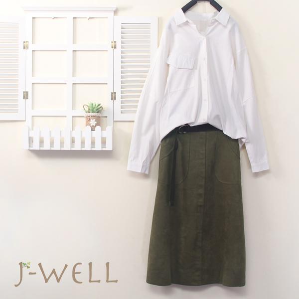 J-WELL 可愛造型口袋襯衫長裙二件組(組合B020 8J1497白+9J1052綠)