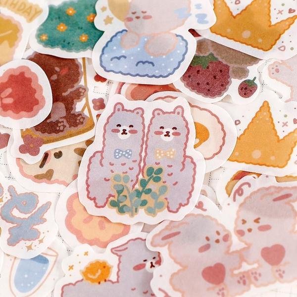 【BlueCat】一天動物日記貼紙包 (30入) 手帳 裝飾 貼紙 異形貼紙 和紙