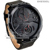 DIESEL 酷炫造型時尚腕錶 男錶 真皮錶帶 IP黑電鍍x深灰 DZ7358  Only The Brave 防水手錶