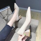尖頭高跟鞋韓版時尚淺口單鞋女簡約套腳百搭粗跟女鞋 露露日記