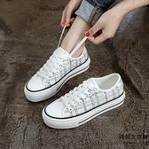 厚底帆布鞋女鞋夏季布鞋百搭小白鞋子韓版板鞋【時尚大衣櫥】