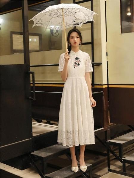 旗袍 2020新款 改良 中長旗袍 年輕款 少女學生甜美年輕刺繡 蕾絲 連衣裙