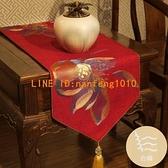 新中式桌旗古典紅木客廳桌布古典繡花餐桌電視柜茶幾定制棉麻床旗【白嶼家居】