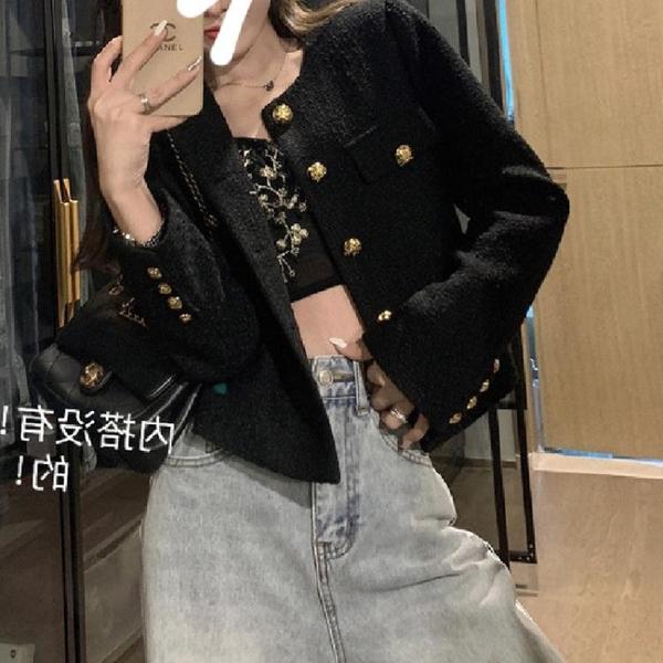 外套 长袖 百搭外套名媛小香風外套女新韓版修身顯瘦粗花呢短上身潮NE68-A1 胖妞衣櫥