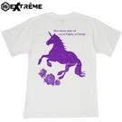 極Extrême 有機棉T恤 紫色獨角獸圖騰 中性版 白色款/環保/潮流/時尚