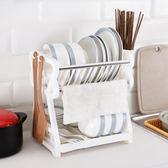 加厚雙層碗碟架廚房置物架瀝水碗架碗筷收納架家用盤子架廚房用品igo     蜜拉貝爾