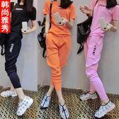 春秋季運動套裝女夏學生跑步寬鬆短袖姐妹套裝九分褲休閒服兩件套