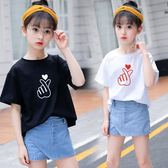 上衣 女童體t恤短袖新款中大童韓版洋氣時尚純棉兒童打底衫上衣潮 艾美時尚衣櫥