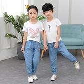 兒童牛仔褲薄款女童春秋新款中小童韓版男童防蚊長褲夏季女孩 快速出貨