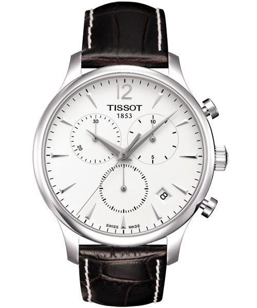TISSOT 天梭 Tradition 復刻計時手錶-白 T0636171603700