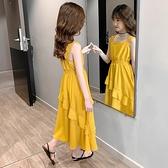 女童過膝洋裝兒童洋氣夏天大童夏季公主裙子女孩夏裝吊帶長裙夏13 幸福第一站
