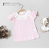 純棉粉色條紋泡泡棉蕾絲圓領上衣甜美荷葉袖短袖女童【哎北比 】
