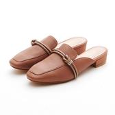 MICHELLE PARK 森林少女 方頭結飾線條羊皮穆勒鞋-棕