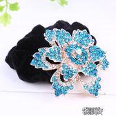 時尚水晶水鑽頭飾媽媽扎髮飾品絨布髮圈髮繩頭繩皮筋帶鑽頭花  街頭布衣