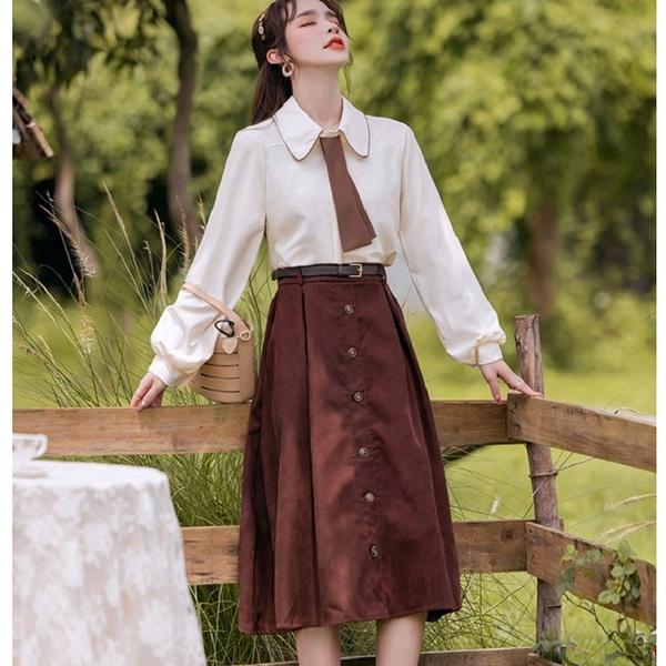 兩件式超划算大娃娃領領帶式(上衣+棕色裙)[99233-QF]美之札