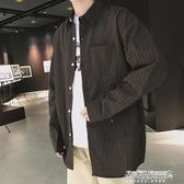 襯衫長袖男 秋季 寬鬆條紋襯衫男士長袖韓版潮流休閒學生薄款襯衣5  傑克型男館