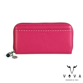 【VOVA】貝拉系列15卡荔枝紋扣式拉鍊長夾(桃紅)VA112W021PK
