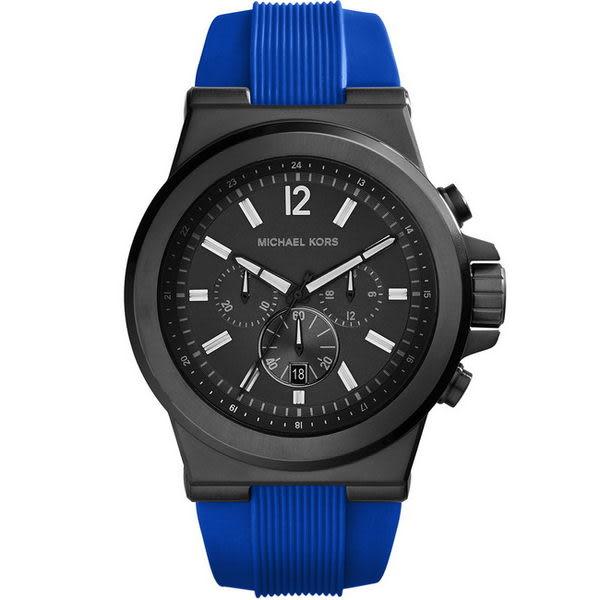 【台南 時代鐘錶】Michael Kors 運動風格三眼計時橡膠腕錶 MK8357 黑鋼/藍 48mm 公司貨 開發票
