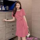 素色洋裝打結設計收腰圓領中長款連身裙女夏新款顯瘦素色氣質A字T恤裙純棉 JUST M