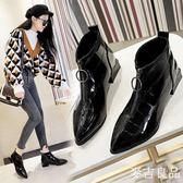 短靴女士馬丁靴子漆皮新款短靴尖頭粗麥吉良品