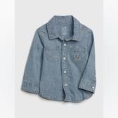 Gap男嬰時尚水洗小熊刺繡牛仔襯衫542877-中度水洗