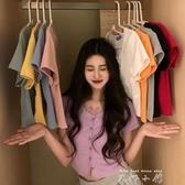 小個子薄款針織衫短款bm修身開衫上衣女韓版夏季顯瘦短袖T恤ins潮