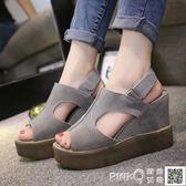2018新款韓版魚嘴女鞋坡跟防水台內增高女涼鞋夏鬆糕厚底羅馬涼鞋 【PINK Q】