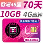 【TPHONE上網專家】 歐洲全區48國10GB超大流量高速上網卡 支援4G高速 70天