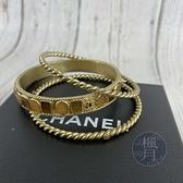 BRAND楓月 CHANEL 香奈兒 金色 三環 鑲寶石 茶色水晶 手環 手鐲 可分開使用 飾品 配件