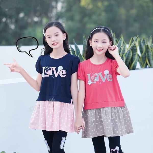藍粉 大童 質感刺繡小花貼鑽字母洋裝 春夏童裝 女童洋裝 女童長版 女童連身裙 女童傘裙